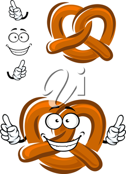 Bavarian crispy pretzel cartoon character with brown baked crust and happy smile with thumbs up, for  bakery or food design