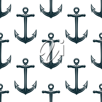 Vintage blue naval anchors with curved arms and sharp flukes seamless pattern for marine and nautical background design