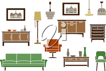 Household furniture and interior flat icons with a couch, vintage chair and armchair, wooden chests of drawers, artworks, floor lamp and light fittings