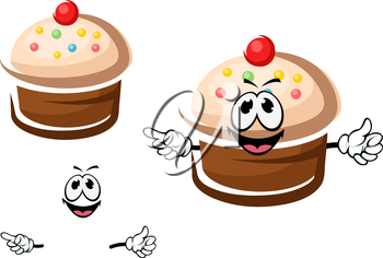 Tasty chocolate cupcake cartoon character with caramel cream and colorful sprinkles for pastry shop or dessert design