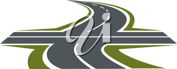 Crossroad abstract symbol with intersection of speed highway and rural winding road for transportation design