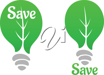 Save nature concept with a green leaf icon instead of glass bulb and text Save