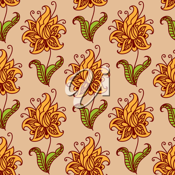 Orange blooming flowers on green leafy stems adorned by floral twirls seamless pattern for wallpaper or fabric design