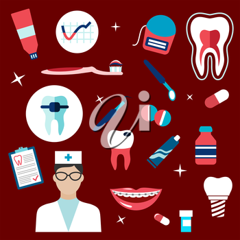 Dentistry flat icons with dentist, healthy tooth cross section, carious tooth, implant, dental mirror and probe, pills, toothbrush and paste, floss, braces, medication