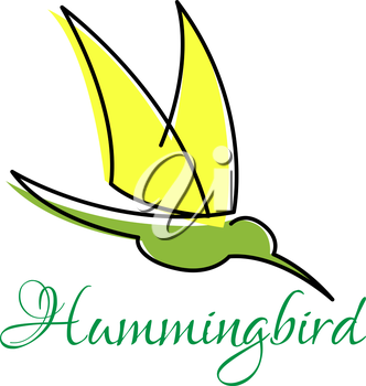 Yellow and green hummingbird abstract symbol with pointed wings, outline style