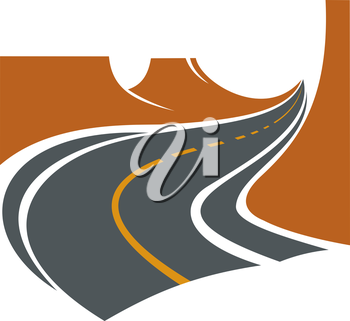 Road passes through deep ravine of a canyon between brown rocky cliffs, for travel or adventure theme design
