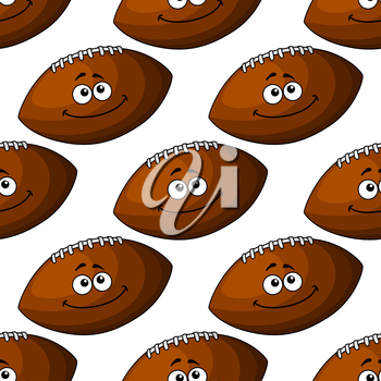 Seamless pattern of a smiling brown leather football in square format, for sport design