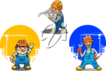 Funny cartoon engineer with building project, construction worker with spanner and bricklayer with trowel, for construction industry theme