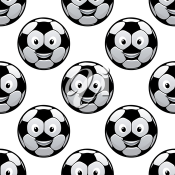 Funny football seamless pattern with smiling cartoon soccer balls on white background, for sporting theme design