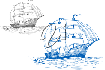 Old sailing brig under full sail on the stormy sea, for marine travel or pirate adventure themes design. Sketch style