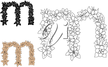 Decorative floral font lowercase letter m, with outline colorless flowers and leaves, for monogram or greeting card design