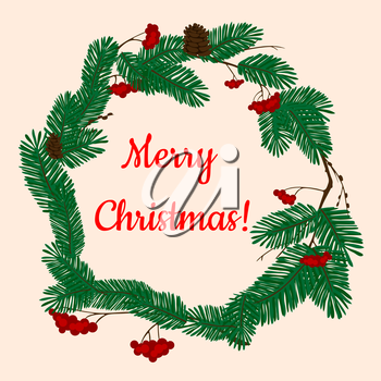 Christmas wreath decorated by green branches of pine and fir trees with cones and bunches of red holly berries with text Merry Christmas