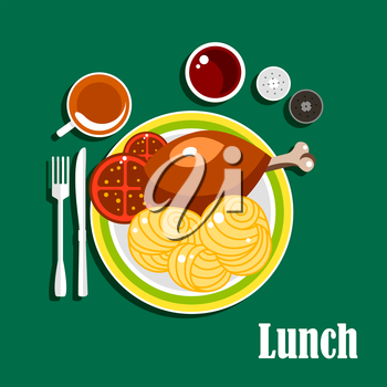 Lunch dishes served on the table with chicken leg, egg noodles nests and tomato slices on plate. Also cup of tea, ketchup, salt and pepper shakers, fork and knife