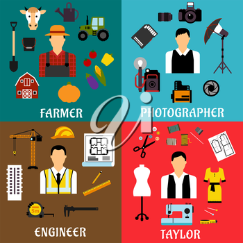 Farmer, engineer, photographer and tailor profession flat icons with agriculture, construction and design equipment or items