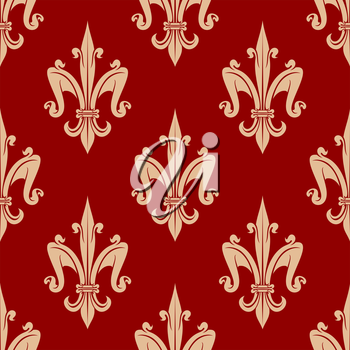 Seamless french fleur-de-lis floral pattern with beige leaf scrolls on red background. For heraldic backdrop or interior background design