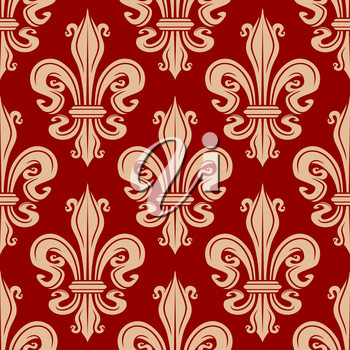 Elegant seamless fleur-de-lis pattern with beige lilies flowers on red background. For interior or wallpaper design usage