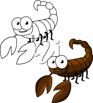 Cute little brown scorpion cartoon character with curved tail, ending with stinger. Children's book, astrology, zodiac or mascot design usage. Also outline version