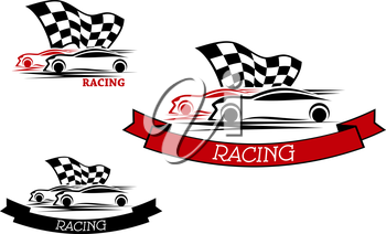 Racing sport emblems design with competition of red and black cars with fluttering checkered flag and ribbon banners