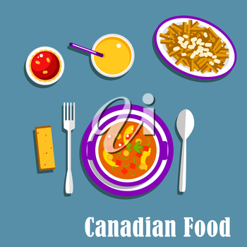 Vegetarian dinner of canadian cuisine with poutine, french fries, cheese curds and brown gravy, vegetable stew with dumplings, butter tart and orange juice. Flat style