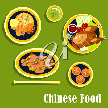 Chinese food with asian dinner including beijing duck, served on lettuce with tomatoes, cucumbers, green onion and sauce, noodles with shrimps, lemon and vegetables, salad with beans, egg custard tart