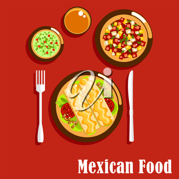 Spicy mexican cuisine food icons of enchiladas, served with beans, tomatoes and cheese sauce, green salsa verde and red salsa roja sauces with herbs and chilli pepper, summer salad with fresh vegetabl