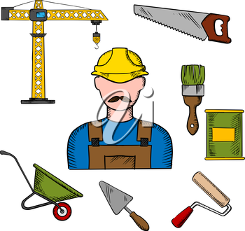 Builder profession and construction tools icons with man in yellow hard helmet and tower crane, hand saw and trowel, paintbrush and paint can, wheelbarrow and paint roller