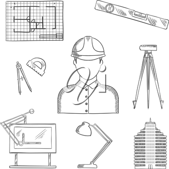 Architect and engineer profession icons with man in helmet, building and drawing table, blueprint and compasses, protractor and lamp, ruler and automatic level on tripod