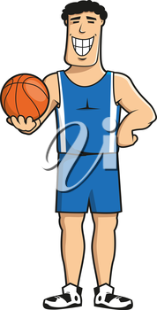 Smiling professional basketball player cartoon character in blue sporting uniform with orange ball in hand