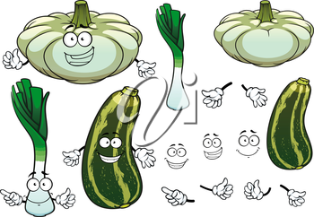 Fresh green leek, pattypan squash and striped zucchini vegetables cartoon characters with joyful smiling faces for agriculture or healthy food design