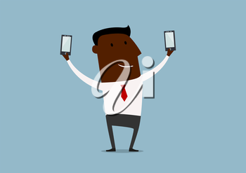 African american businessman posing and making double selfie shots with two smartphones, for technology concept design. Cartoon flat style