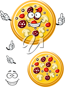 Italian pizza cartoon character with salami, tomato, mushroom and olive slices ingredients for pizzeria or fast food theme