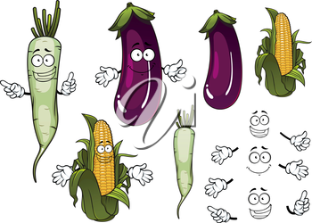 Cob of sweet corn, white daikon radish and violet eggplant vegetables cartoon characters with fresh green leaves for vegetarian food or agriculture design