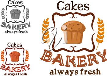 Bakery or pastry shop sign with cupcake, raisins, ornamental swirls and wheat with text Always Fresh Cakes
