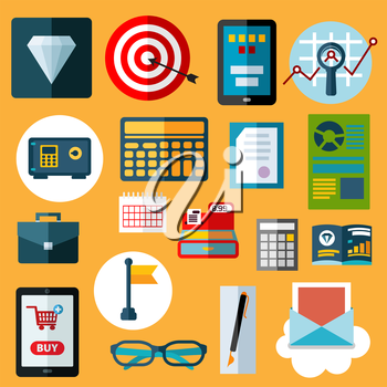 Financial and commerce flat icons with diamond, safe, calculators, target with arrow, tablet pc with on-line shop, e-mail, calendar, financial reports, cash register, flag, glasses, briefcase, pen