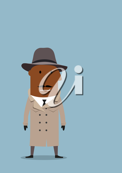 Serious african american detective man or spy agent in gray coat and fedora hat. Cartoon flat style