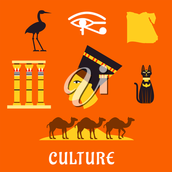 Ancient Egypt flat icons with profile of queen Nefertiti, cat goddess, sacred heron Bennu, eye of horus symbol, temple columns, map, caravan of camels and Giza pyramids. For travel and culture theme d