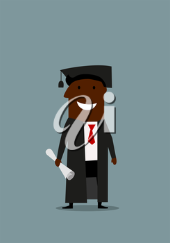 Joyful cartoon african american businessman in graduation gown and cap with diploma in hand, for education or career design