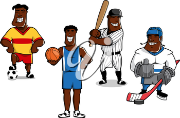 Cheerful african american soccer, basketball, baseball and ice hockey players cartoon characters with balls, pack, bat and stick, for sports mascot or lifestyle concept