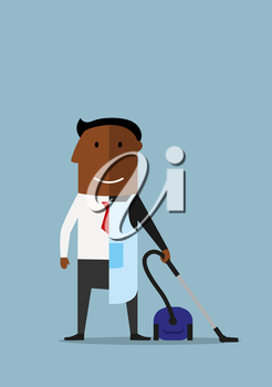 African american man divided into two parts, one half of businessman in suit and another half as ordinary man in apron with vacuum cleaner, for balance concept design. Cartoon style