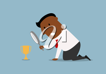 Confused cartoon african american businessman looking at small trophy cup through magnifying glass