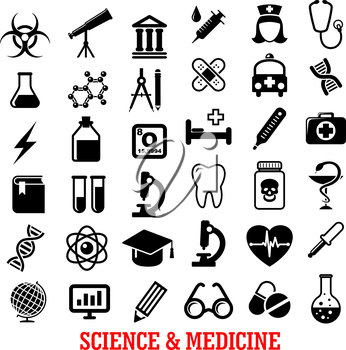 Science and medicine flat icons with ambulance hospital, test tube doctor microscope book pills dna, atom, flask, stethoscope, syringe, heart, cardiology, drugs, tooth, glass, globe and telescope
