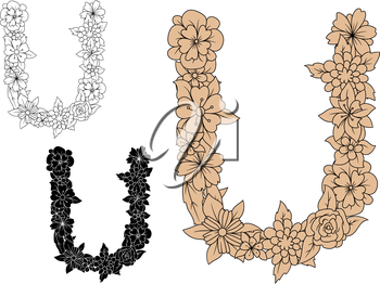 Vintage floral letter U with outline flower shapes. For retro style alphabet and font design