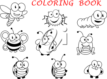 Cartoon funny outline insect characters with fly, ladybug, butterfly, dragonfly, bee caterpillar beetle spider and grasshopper