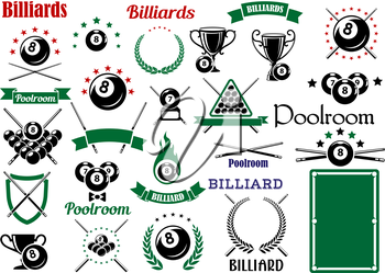 Billiards game and poolroom design elements for sporting emblems templates  with crossed cues, table, trophies and balls with stars and flame, heraldic shield, laurel wreaths and ribbon banners