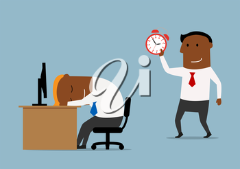 Tired cartoon businessman sleeping at workplace and his colleague trying to wake him up with alarm clock. Overworking, stress, friendly joke theme design