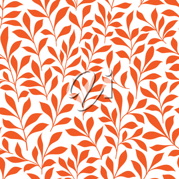Seamless leafy branches pattern with bright orange leaves of wild herbs on white background. Use as fabric, wallpaper ornament or interior accessories design