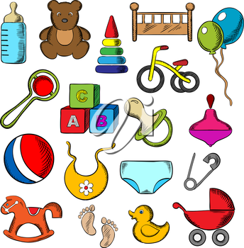 Baby, childish and childhood icons set with blue and black flat icons of toys, diaper, bottle, pacifier, rattle, stroller, cubes, ball, bed, bib, bicycle and rocking horse