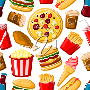 Colorful fast food lunch seamless pattern with randomly scattered over white background pepperoni pizzas, burgers, french fries, fried chicken, strawberry ice cream, popcorn, sweet soda and coffee