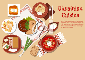 National ukrainian cuisine dishes with borscht served in ceramic pot and sour cream, stuffed cabbage rolls and vegetable dumplings vareniki, topped with fried onion, sausages and fatback, served with