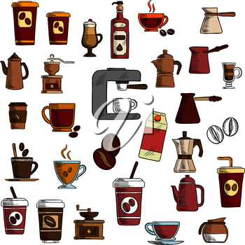 Retro colorful signs of coffee in engraving sketch style with take away paper cups of coffee, glass cups with cappuccino, macchiato and irish cream coffee, espresso machine, coffee pots and grinders w